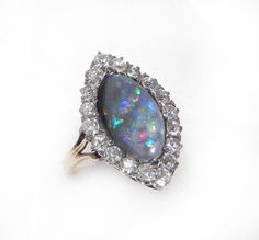 Antique Opal and Diamond Engagement Ring - 5ct Black Opal, 1.25ct Old mine cut diamonds - Marquise diamond and black opal ring - Art Deco on Etsy, $9,667.00