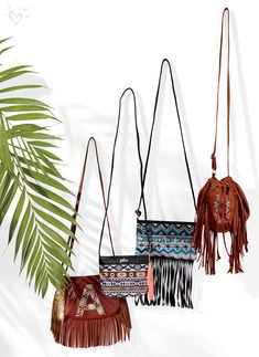 Bags of fun covered in tribal-inspired patterns and our favorite extra, FRINGE!