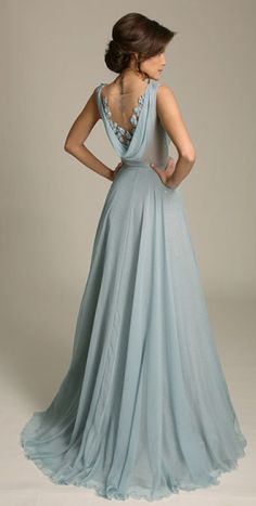 Elegant A-Line Sleeveless Blue Chiffon Long Prom Dress with Lace