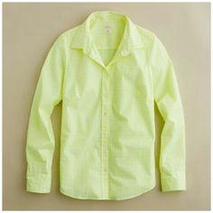 "!J Crew Neon Shirt The Perfect Gingham Plaid Shirt  Size 10  Neon color  Bust 38"" Waist 34"" Length 24"" Sleeve 24""  100% cotton J. Crew Tops Button Down Shirts"