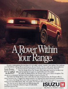 You see the price on that Isuzu Trooper when it was new? $35k for a new Range Rover? Talk about the golden age. That's Honda Pilot these days.