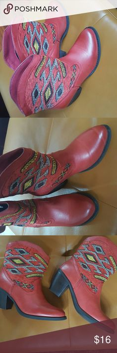 Red Aztec Themed Cowboy Bootie!! Worn twice, excellent condition! Wanted Shoes Ankle Boots & Booties