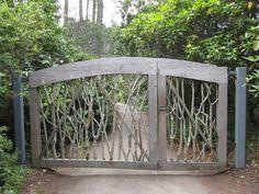 Rustic gate Mendocino coast botanical gardens