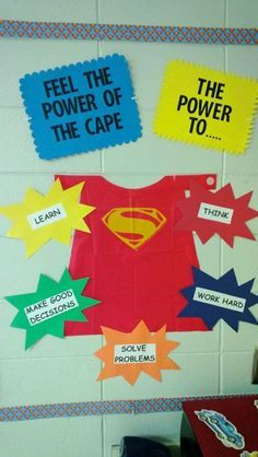 superhero classroom decorations - but add first grade rules! Superhero School Theme, Superhero Classroom Decorations, Superhero Room, School Themes, Classroom Themes, School Decorations, Classroom Organization, Superhero Bulletin Boards, Superhero Party