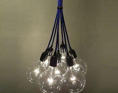 7 Cluster Chandelier Pendant Lighting Bare Bulb Cluster modern chandelier - Custom Rainbow Cloth Cords - Industrial pendant lamp
