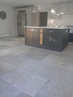 Manoir grey French limestone flooring Manoir Grey French limestone in large format tiles up to Flooring, Kitchen Flooring, French Limestone Floor, Stone Kitchen, Limestone Flooring, Kitchen Remodel, Grey Flooring, Grey Kitchen Floor, Hallway Flooring