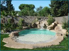beach style pools beach style pool projects created by yelicarocks Natural Swimming Pools, Swimming Pools Backyard, Swimming Pool Designs, Pool Landscaping, Small Backyard Pools, Beach Entry Pool, Backyard Beach, Backyard Pool Designs, Beach Pool