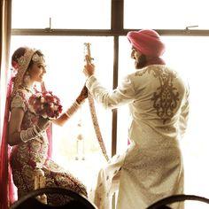 Adorable Bride & Groom Pose. #IndianWedding #DesiWedding