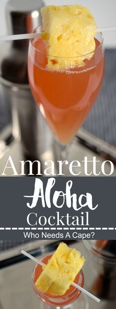 Amaretto Aloha Cocktail - Who Needs A Cape? - - Amaretto Aloha Cocktail – Who Needs A Cape? ► Drink Group ◄ The Amaretto Aloha Cocktail sweeps you away to the tropics! A simple beverage to prepare, make a pitcher for your next party! Bar Drinks, Non Alcoholic Drinks, Cocktail Drinks, Beverages, Drinks Alcohol, Simple Cocktail Recipes, Cocktail Shaker Recipes, Dessert Drinks, Party Desserts