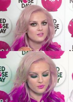 Get the Look: Perrie's Red Nose Day Challenge  What You'll Need:  dark brown/taupe eyeshadow gel liner pencil liner false lashes & individual lashes (optional) thickening mascara natural pink blusher bubblegum pink lipstick & clear or pink gloss  How-to:  Prep the skin with primer, foundation, concealer and eye primer. Apply the eyeshadow all over the lids. Using a fluffy brush, blend the shadow high into the crease. Take a small brush to smudge the shadow under the lower ...