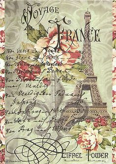 Rice Paper for Decoupage, Scrapbook Sheet, Craft Paper  Vintage Tour Eiffel