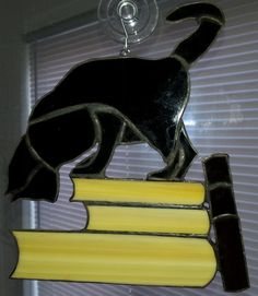 Bibliothèque Cat vitrail Sun Catcher/Wall Art ~ Black Cat