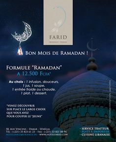 newsletter juillet 2012 du restaurant de spécialités libanaises Farid à Dakar pour annoncer la formule coupure du jeûne pendant le mois de Ramadan