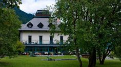 Garden of Boutique Hotel Dobra vila Bovec Waterfall, Boutique, Vacation, Mansions, House Styles, Places, Garden, Travel, Outdoor