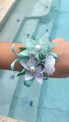 Ramillete de muñeca flores de papel / novia Bouquet / / Kusudama Origami ramo novia de la boda / ramo de Dama de honor / ramillete/pulsera de flores de papel