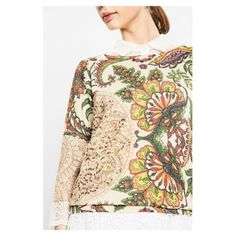 Lovely three quarter length sleeves and gold metallic thread & sequinned golden mandala design on natural fawn coloured knit sweater. Lovely weight & feel - perfect for Spring/Summer evenings. Slight batwing sleeves which hide a multitude of well...arms & wobbly bits :))