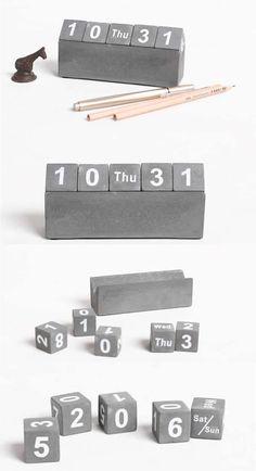 Concrete Cubes Perpetual Calendar Source by elizabethmaiabe Cement Design, Cement Art, Beton Design, Concrete Cement, Concrete Furniture, Concrete Crafts, Concrete Projects, Perpetual Calendar, Calendar Calendar