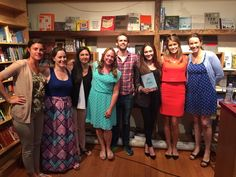 Christina McDowell, author of 'After Perfect' (S&S), hosted a reading and Q&A at BookCourt in Brooklyn on August 3. Pictured (l. to r.), Danielle Caravella, Brianna Robinson, Juliette Pashalian, Tanya Farrell (Wunderkind PR), Andrew Unger (BookCourt), McDowell, Meagan Harris (S&S), and Elena Stokes (Wunderkind PR).