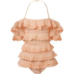 Zimmermann Painted Heart Love tiered lattice-trimmed Swiss-dot lace... ($795) ❤ liked on Polyvore featuring swimwear, one-piece swimsuits, swimsuits, peach, ruffle one piece swimsuit, off the shoulder one piece swimsuit, off-shoulder swimsuits and ruffle bathing suit