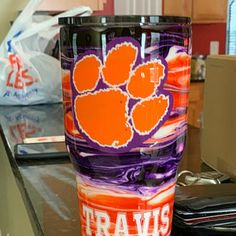 Clemson tigers tumbler stainless steel customized | Etsy Diy Tumblers, Personalized Tumblers, Custom Tumblers, Glitter Tumblers, Clemson Tigers, Clemson Football, Tiger Design, Insulated Cups, Glitter Cups