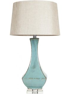 "OLIA TABLE LAMP, TURQUOISE SIZE: 16"" W x 32"" H $295.80  $177.48"