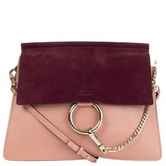 Chloé 'Faye Medium' Shoulder Bag Pink/Burgundy Smooth Calfskin Suede