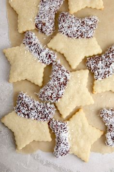 Overhead of star shaped shortbread cookies with chocolate and coconut sprinkles Buttery Cookies, Shortbread Cookies, Cookies Et Biscuits, Yummy Cookies, Sugar Cookies, Easy Cookie Recipes, Easy Desserts, Baking Recipes, Delicious Desserts