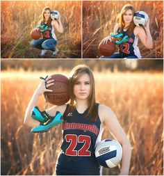 Senior Girl Portraits. Sporty Senior. Rustic Field Senior. Erin Kata Photography. Senior Basketball Pose. Senior Volleyball Pose. Senior Track Pose.