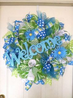 Welcome Spring Wreath by WreathsbyDesign1 on Etsy, $80.00