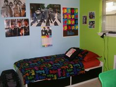 I decided to remodel my son's bedrooms. This is my middle son's room. He is a big Beatles fan!