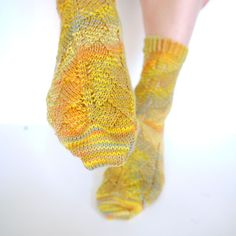 A selection of short row socks including Toe Up Ginkgo Socks by Cotton & Cloud