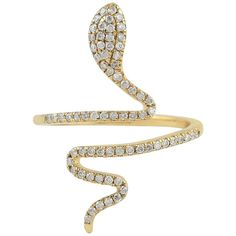 For Sale on - This snake ring has been meticulously crafted from gold and set with carats of sparkling diamonds. The ring is a size 6 and may be resized Gold Rings For Sale, Snake Ring, Women Jewelry, Unique Jewelry, Cocktail Rings, Precious Metals, 18k Gold, White Gold, Wedding Rings