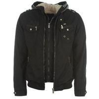 FIRETRAP-MENS FASHION-Men's Clothing-Firetrap Double Layer Bomber Jacket Mens-£30.00-Firetrap Double Layer Bomber Jacket Mens  The Firetrap Double Layer Bomber Jacket features a lock layer design with dual zips and a thick fleece lining to the body and heavy knitted hood wrapped with full Firetrap branding. This Firetrap Jacket is styled with knitted cuffs and hem for a classic bomber jacket style, with a combination of zipped and press stud pockets to the chest, finished with signature..