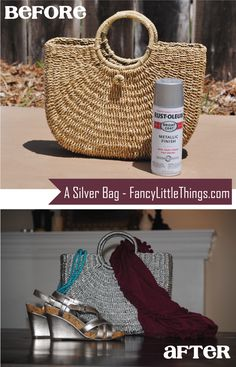 use metallic spray paint to cover wicker -- handbag, hat, shoes, wallet #DIY #FancyLittleThings.com