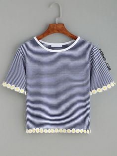 Blue Striped Daisy Crochet Trim T-shirt