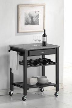 Quebec Black Wheeled Modern Kitchen Cart with Granite Top   Inspiration