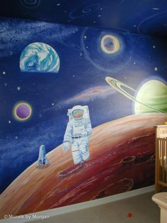 Outer Space Astronaut Mural - Moon Walking