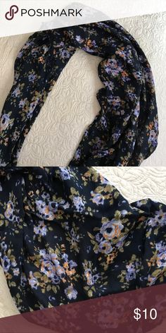 Floral Scarf Navy blue floral scarf. Like new! Accessories Scarves & Wraps