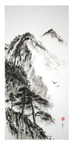 peinture zen ou sumi-e Jean-Marc Moschetti art zen Chinese Landscape Painting, Landscape Drawings, Chinese Painting, Landscape Art, Landscape Paintings, Japanese Watercolor, Japanese Painting, Art Zen, Pine Tree Art
