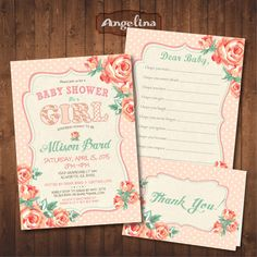Peach and Teal Spring Baby Shower Invitation by AngelinaWorks