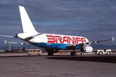 Braniff Airbus A320-231 N905BN being towed at Las Vegas-McCarran, March 1990. One of an original order of fifty taken over from Pan Am, N905BN was never delivered, as the second incarnation of Braniff filed for bankruptcy in September 1989. Stored at Las Vegas for twelve months, N905BN was eventually acquired by America West Airlines in September 1990. (Photo: Frank C. Duarte, Copyright: Braniff Flying Colors Collection)