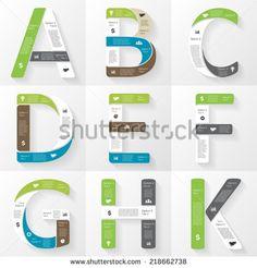 Vector font infographic, diagram, presentation. Letters A, B, C, D, E, F, G, H, K. Business concept with options, parts, steps or processes.