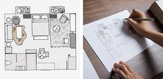 Transform an expansive but frill-free space above the garage into a cozy and fully outfitted guest apartment on a budget.  Initial Sketches | GOOP