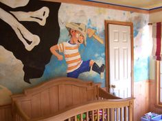 Imaginative Design  Nurseries are the perfect place for a little fantasy. Inspired by the book How I Became a Pirate, RMSer Wendyleia paints a pirate-themed mural on the walls and ceiling of her son's nursery.