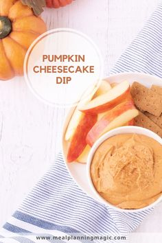 This Easy Pumpkin Cheesecake Dip is ready in just minutes and only has 5 ingredients including real pumpkin. Serve it with apple slices or graham crackers for a healthier snack idea! #pumpkindip #pumpkincreamcheese #pumpkinrecipe Pumpkin Pie Dip, Pumpkin Cheesecake, Cheesecake Recipes, Pumpkin Spice, Cheesecake Dip, Holiday Desserts, Fun Desserts, Thanksgiving Recipes, Fall Recipes