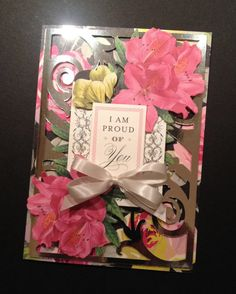 Fancy Floral 3D Graduation Card with Silver Foil and Elegant Anna Griffin Papers