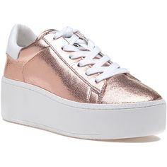 ASH Cult Rame/White Leather Sneaker (810 BOB) ❤ liked on Polyvore featuring shoes, sneakers, rose gold, platform sneakers, leather platform sneakers, white lace up sneakers, ash sneakers and white sneakers