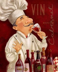 Wine Chef I. This Wine Chef Keeps Busy With His Wine Tasting! Fun Artwork  For Your Kitchen Or Dining Room Decor.