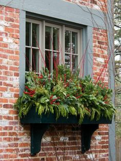 There are tons of options for cut greenery in containers and window boxes. Typical greenery used is pine, fir, cedar, magnolia, holly, and boxwood. Use what you have on property or what your neighbor has...lol.  (Image: remodelaholic.com)