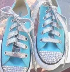 Bling Tiffany Blue Converse Sneakers....I want